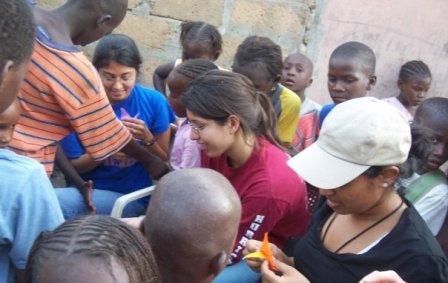 Kunjal Gandhi (left), Janeen Alidina and Archna Eniasivam make origami for the children of Senegal.