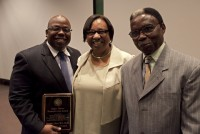 Dr. Darrell Hunt with the parents of the late Dr. Hugh Walters, Curtis and Margaretta. Photo by Sarah Kiewel