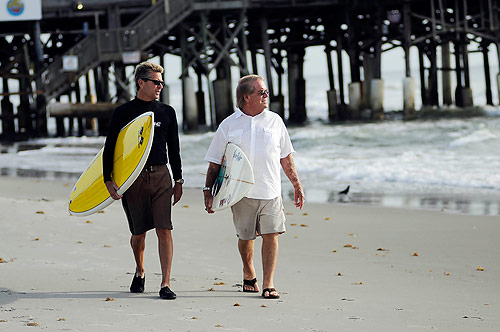 On the eve of the new year 2009, Bill Hahn (left) received a kidney-pancreas transplant with help from members of the Renal Transplant Program at Shands at the University of Florida medical center. This week he and fellow surfer and transplant recipient Richard Salik are preparing for the 24th annual National Kidney Foundation Surf Festival.