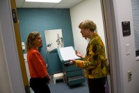 Congresswoman Debbie Wassermann Schultz, left, received a tour of the HSC Harrell Professional Development & Assessment Center by the director of the Center Dr. Margaret Duerson, right, during her day visit to the University of Florida Health Science Center Friday, Nov. 20.