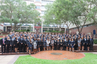 The 135 UF College of Medicine first-years pose for their class photo in the ARB courtyard. Photo by Jesse S. Jones