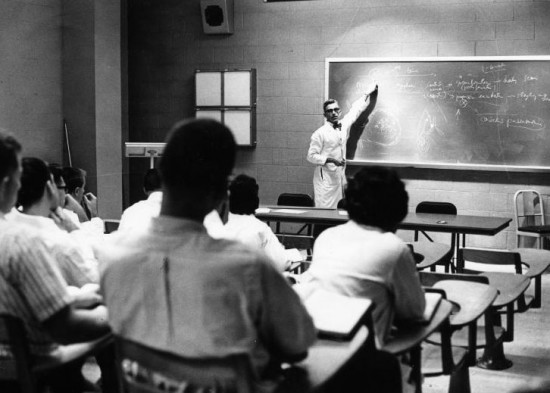 Emanuel Suter, M.D., teaches a class of medical students at UF. Photo courtesy of UF Digital Collections