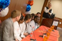 Four medical students and two physician assistant students answered questions from alumni at the student panel. Photo by Jesse S. Jones