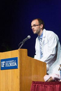 As academic chair, Tudeen acted as a liaison between faculty and students and spoke at several events, including the class of 2015's White Coat Ceremony in 2013. Photo by Jesse S. Jones