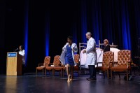Students from the class of 2019 received their first white coats. Photo by Jesse S. Jones