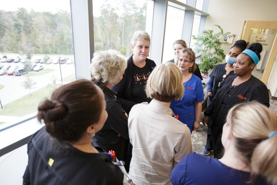 UF Health staff participate in a Hospitality Huddle. Photo by Mindy C. Miller