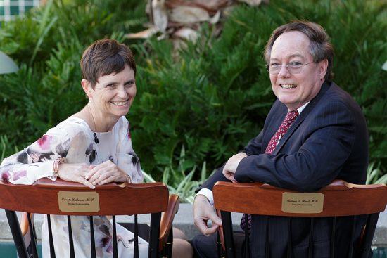 Drs. Carol Mathews and Herbert Ward with chairs
