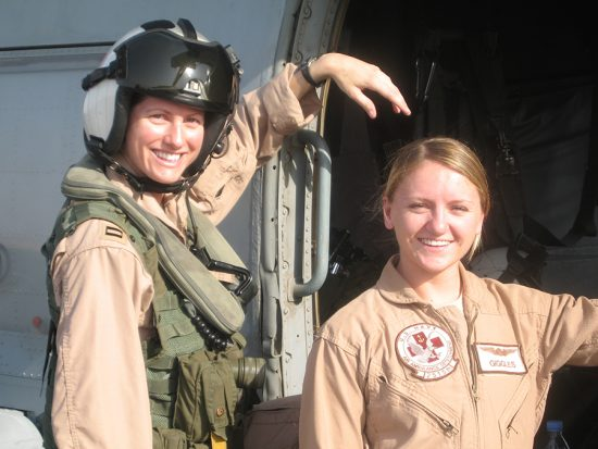 Ehresmann served as a lieutenant as part of Operation Iraqi Freedom in 2006, pictured here with a member of her flight crew.