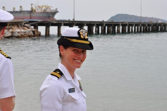Ehresmann in her Navy summer whites in Satahip, Thailand in 2012.